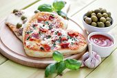 image of olive shaped  - homemade delicious pizza  - JPG