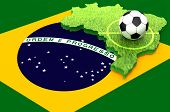 stock photo of brazil carnival  - A soccer ball on the map  of Brazil covered with grass and the flag of Brazil  as a background for 2014 soccer world cup - JPG