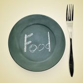 foto of table manners  - picture of a fork and a plate painted as a blackboard with the word food written in it with chalk on a beige background with a retro effect - JPG