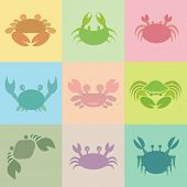 stock photo of cancer horoscope icon  - Set of vector crab icons on the turnovers - JPG