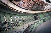 stock photo of plc  - control room in an abandoned power plant - JPG