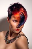 foto of hair dye  - portrait of a beautiful girl with dyed hair professional hair coloring - JPG