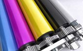image of drums  - details of coloured stainless steel printing rolls - JPG