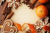 image of christmas spices  - Blank note for recipes of christmas cookies or christmas greeting card - JPG