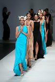 ZAGREB, CROATIA - NOVEMBER 20: Fashion models wearing clothes designed by S.Dresshow on the Zagreb F