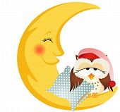 stock photo of goodnight  - Scalable vectorial image representing a good night owl sitting on a moon - JPG