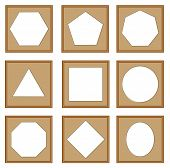 pic of heptagon  - modern style of edge and circle frames Hexagon octagon pentagonal square oval heptagon vector set - JPG