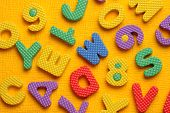 stock photo of kiddie  - Kiddies style Colored Alphabet and number blocks - JPG