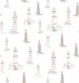 Lighthouses In Vintage Style - Vector Pattern Seamless