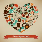 image of moustache  - I Love Hipster Style Icon Set - JPG