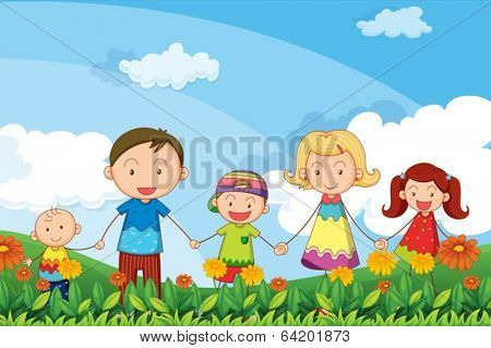 Illustration of a family strolling in the garden