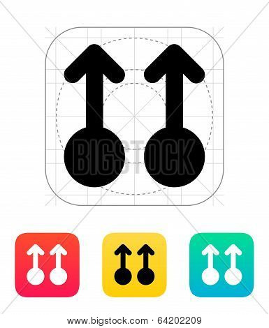 Two Finger drag up gesture abstract icon.