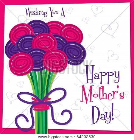 Happy Mother's Day Bright Rose Card In Vector Format.