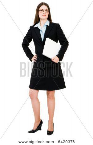 Portrait Of Businesswoman Holding Laptop