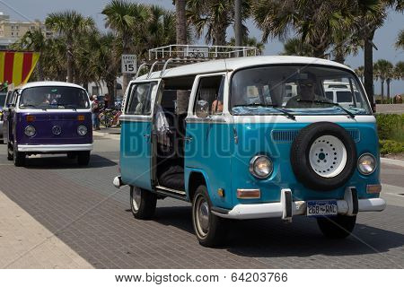 JACKSONVILLE BEACH, FL - APRIL 27, 2014: A classic Volkswagen Van at the 68th annual Opening of the Beaches Parade. Each year the parade officially opens the beaches for the summer months.