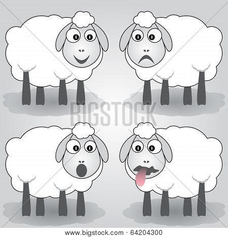 Vector cartoon illustration of sheep