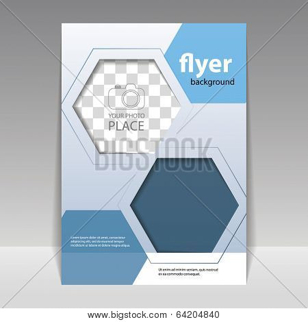 Business Corporate Flyer Template with Hexagonal Pattern