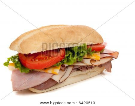 Assorted Meat Sandwich With Fixings On A Hoagie
