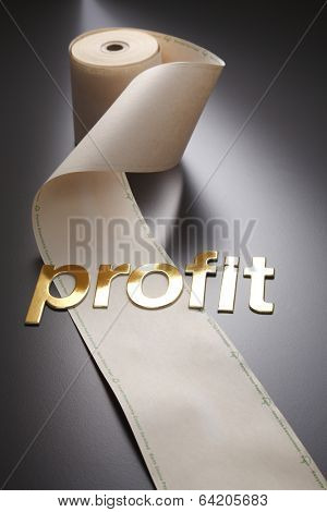 word profit and adding machine tape
