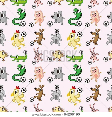 Animal Soccer Seamless Pattern
