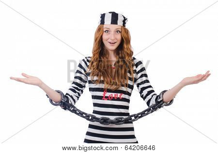 Young surprised  woman-prisoner isolated on white