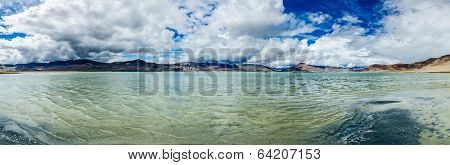 Panorama of Tso Kar - fluctuating salt lake in Himalayas. Rapshu,  Ladakh, Jammu and Kashmir, India