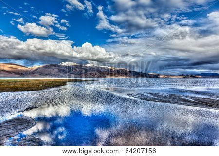 High dynamic range image (HDR) of Himalayan mountain lake in Himalayas Tso Moriri, Korzok,  Changthang area, Ladakh, Jammu and Kashmir, India