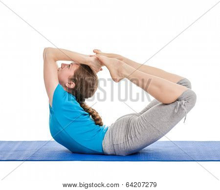 Yoga - young beautiful slender woman yoga instructor doing Bow pose (Balancing on abdomen in the shape of a bow) (rocking dhanurasana) asana exercise isolated on white background