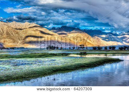 HDR (high dynamic range) image of Nubra river in Nubra valley in Himalayas, Hunder, Ladakh, India