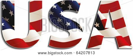 Letters with american flag, USA, isolated on white background