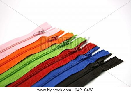 Multicolored Zipper Isolated On White