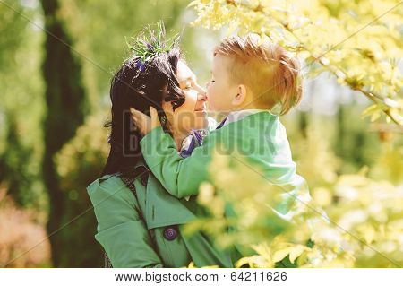 young mother and her son spending time outdoor
