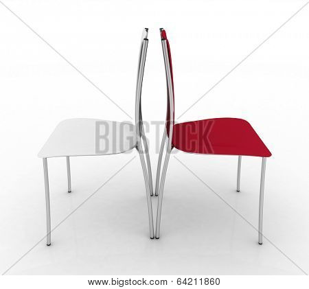 Two chairs. 3d illustration on white background