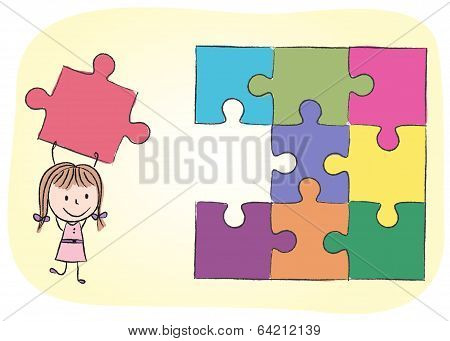 Girl Solving Puzzle