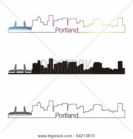 Portland Skyline Linear Style With Rainbow