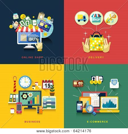 Flat Design For E-commerce, Delivery, Online Shopping, Business
