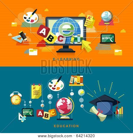 Flat Design For Education And Online Learning