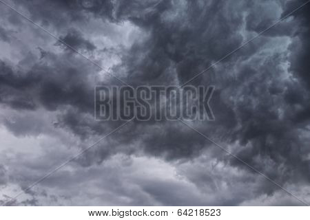 Dark, ominous stormy clouds background