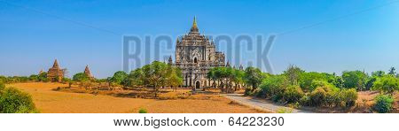 Panoramic View Of Buddhist Temples In Bagan