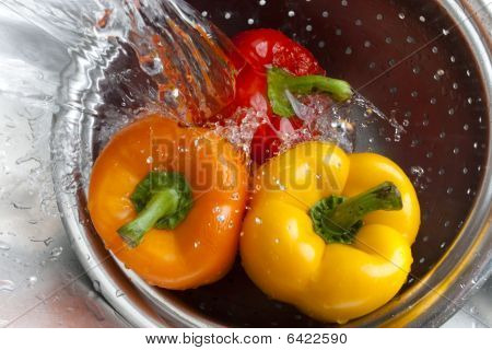 Yellow Red And Orange Bell Pepper