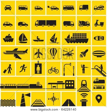 Transportation icons set - road, rail, water, air transport symbols & design elements.High contrast - Black on Yellow