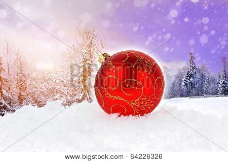 Red Christmas Ball On White