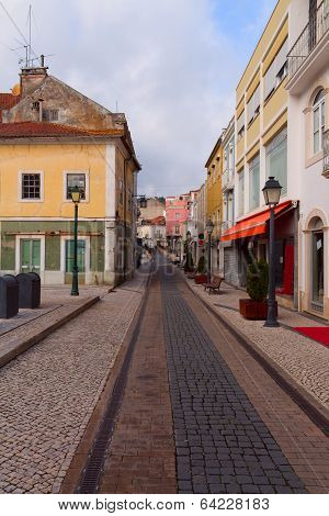 ALCOBACA, PORTUGAL 5 JANUARY 2014.View on one of the streets of the old town