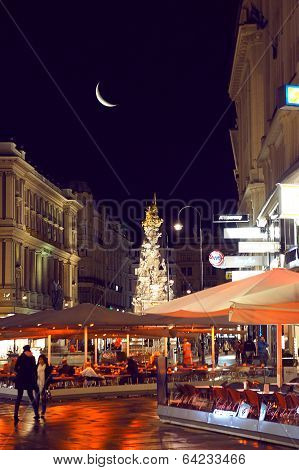 Graben street of Vienna by night