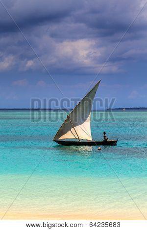 A Traditional Boat Near A Tropical Beach
