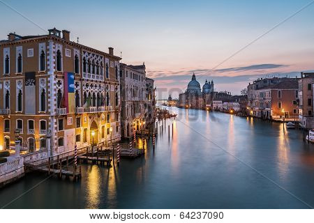 View On Grand Canal And Santa Maria Della Salute Church From Accademia Bridge At Sunrise, Venice, It