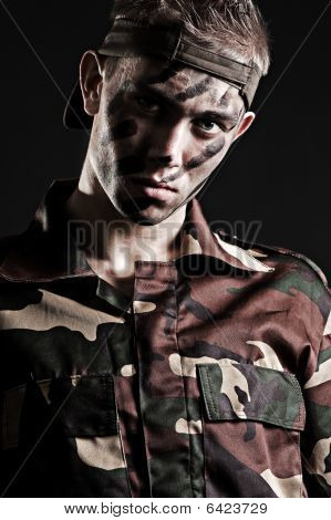 Portrait Of Young Serious Soldier