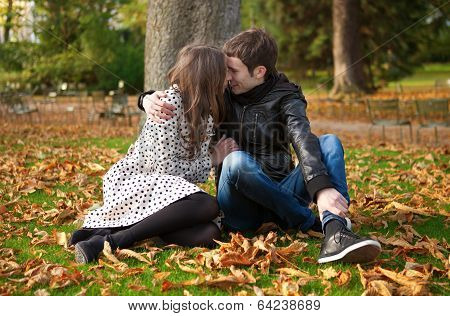 Romantic Couple In Park At Fall