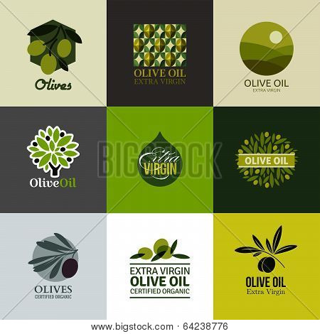 Set Of Vector Labels And Emblems With Olive Branch