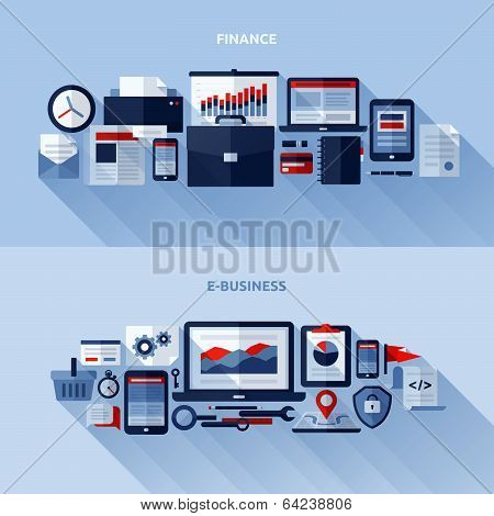 Flat Vector Design Elements Of Finance And E-business